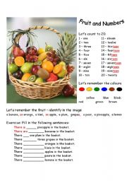 English Worksheet: Fruit and Numbers