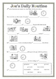 English Worksheets: Joe�s Daily Routine