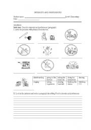 English Worksheets: Writing about interests and preferences