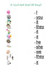 English Worksheets: Pronouns Worksheet for Kids