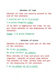 English Worksheet: Adverbs of time and place