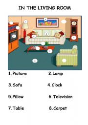 English worksheets: IN THE LIVING ROOM FURNITURE