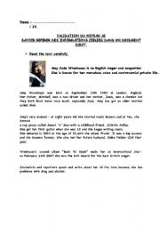English Worksheet: reading comprehension amy winehouse
