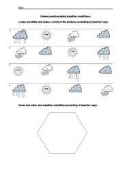 english worksheets weather condition listen practice. Black Bedroom Furniture Sets. Home Design Ideas