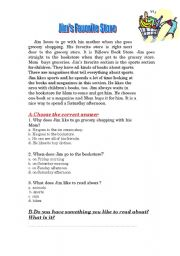 English Worksheets: Jim´s favourite store