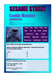 English worksheet: ADJECTIVES (DESCRIPTIONS) - COOKIE MONSTER