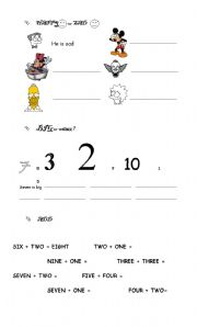 English Worksheet: Numbers 1 to 10 / big or small?