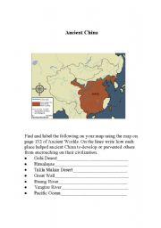 english worksheets ancient china map