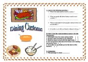 English worksheet: Dining Customs