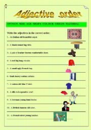 Printables Order Of Adjectives Worksheet order of adjectives worksheet free scalien english teaching worksheets adjectives