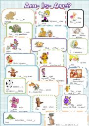 English Worksheet: To Be : Am, Is or Are? Easy and colourful. 2 pages