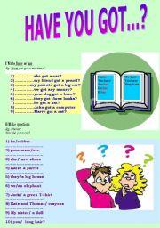 English Worksheet: Have you got?  Elementary