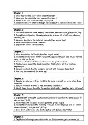 English Worksheets: Comprenhension Questions on Abomination by Robert Swindells Chapters 11-20