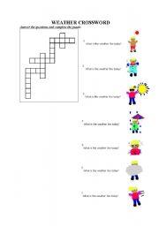 English Worksheet: crossword puzzle of weather