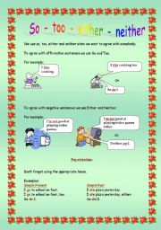 English Worksheet: So - Too - Either - Neither