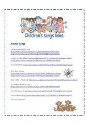 English Worksheet: Children´s Songs Video Links