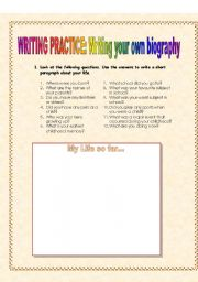 English Worksheets: Guided Writing: Autobiography