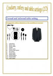 English Worksheet: Crockery, cutlery and table settings part 2 (of 2)