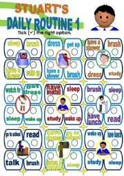 English Worksheets: DAILY ROUTINE - PART 1