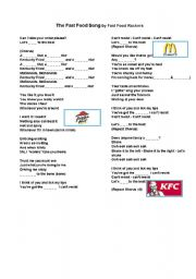 English Worksheet: Fast Food song and word search