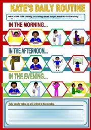English Worksheets: KATE�S DAILY ROUTINE