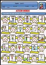 English Worksheet: ACTION WORDS PUZZLE