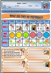 English Worksheets: WHAT DID THEY DO YESTERDAY? (PAGE 1)