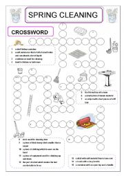 English Worksheet: spring cleaning crossword