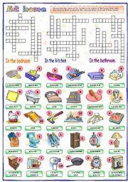 English Worksheet:  At home (2 of 2)