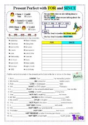 English Worksheet: PRESENT PERFECT WITH FOR AND SINCE