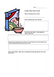 English Worksheets: Create Your Own Cereal