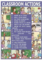 English Worksheets: CLASSROOM ACTIONS ( SET 3 )