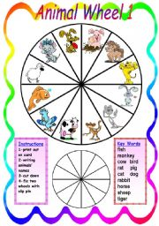 English Worksheet: Animal Wheel 1