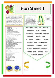 English Worksheet: Fun Sheet 1