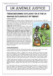 English Worksheet: UK Juvenile Justice