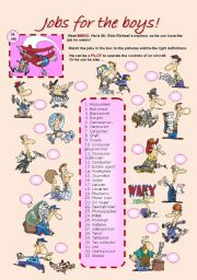 English Worksheet: JOBS FOR THE BOYS (1 of 2)
