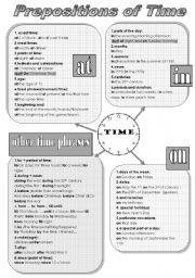 English Worksheets: PREPOSITIONS OF TIME - a handy grammar-guide