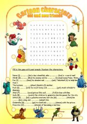 CARTOON FLASHCARDS (4 CHARACTERS SET)4 PAGES-44 CARDS