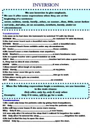 English Worksheet: INVERSION  (3 pages)+a key