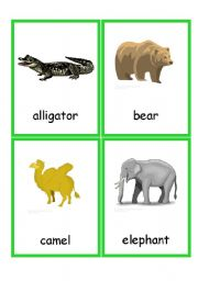 English Worksheets: Zoo Animals Flashcards