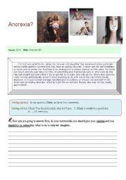 English Worksheet: Anorexia