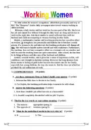 English Worksheet: Working women
