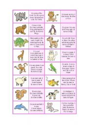 English Worksheets: Animal Description Dominoes ( 32 CARDS ! + EXTRA RULES - 4 pages ) - A1-2 level