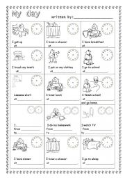English Worksheets: Daily routine-guided writing
