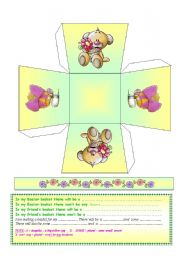 4 original ADAPTABLE Spring / Easter Baskets (Color / BW) + There will be + Prepositions (Future) + coloring Intructions + Easter Card ((5 PAGES))