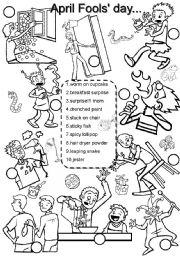 Free Printable April Fools' Reading Worksheet for Kindergarten