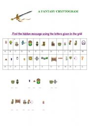 English Worksheet: A FANTASY CRYPTOGRAM