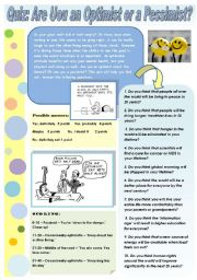 English Worksheet: QUIZ: Are You an Optimist or a Pessimist?