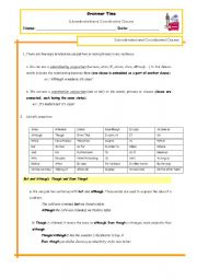 English Worksheets: Subordinated and Coordinated Clauses
