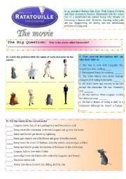 English Worksheet: Ratatouille - The movie (1/3)